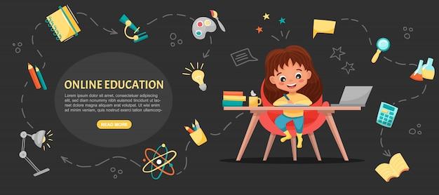 Bannière de concept de classe e. éducation en ligne. écolière mignonne à l'aide d'ordinateur portable. étudiez à la maison avec des éléments dessinés à la main. cours ou tutoriels web, logiciels d'apprentissage. illustration de dessin animé plat