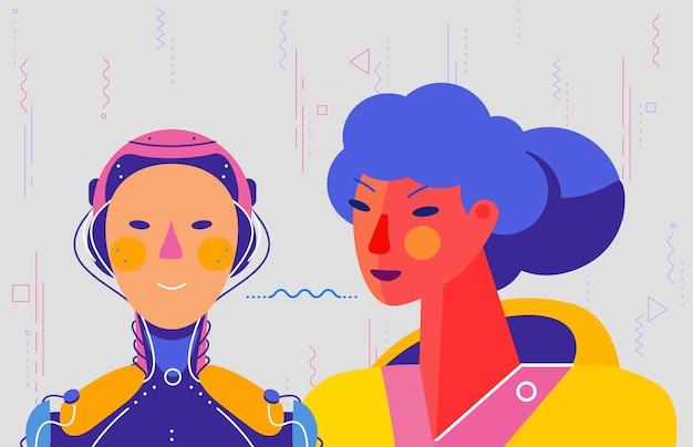 Bannière de concept avec commande de femme avec sa voix au robot
