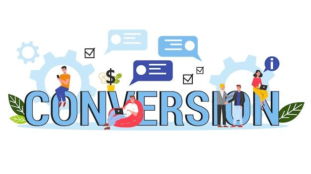 Bannière de concept de conversion. idée de stratégie marketing et campagne d'attraction client. croissance du taux de clients. illustration