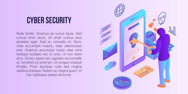Bannière de concept de cybersécurité, style isométrique