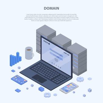 Bannière de concept de domaine, style isométrique