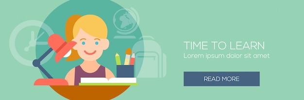 Bannière de concept de l'éducation. fille assise à un bureau.