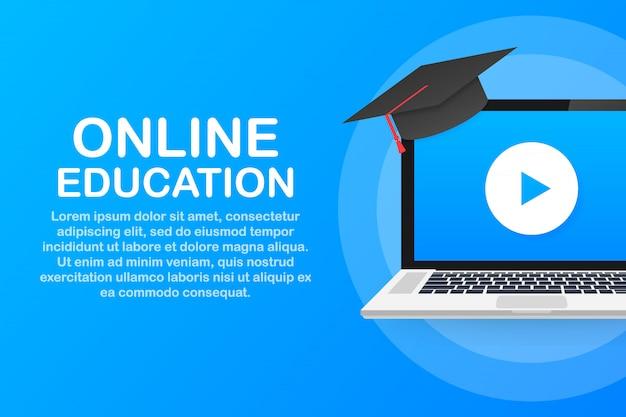 Bannière de concept d'éducation en ligne. cours de formation en ligne. tutoriels, e learning ..