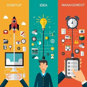 Bannière de concept d'entreprise au design plat