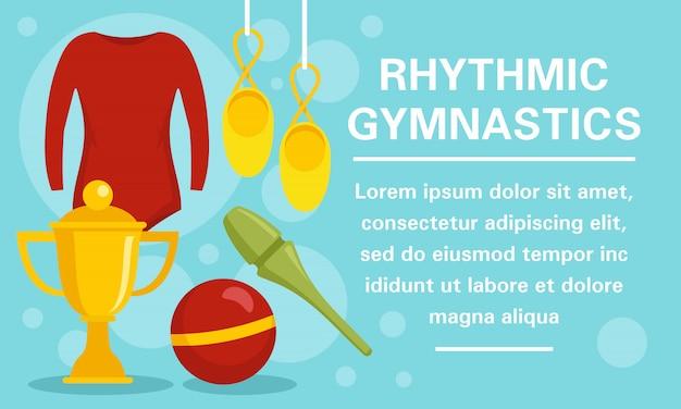 Bannière de concept d'équipement de gymnastique rythmique
