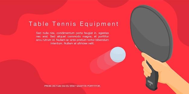 Bannière concept d'équipement de tennis de table, style isométrique