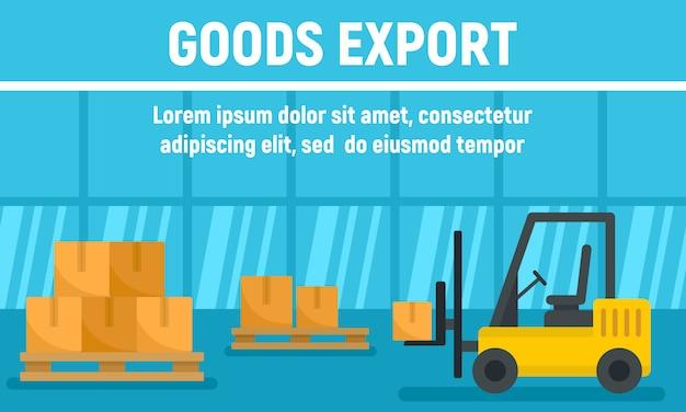 Bannière de concept d'exportation de marchandises de chariot élévateur