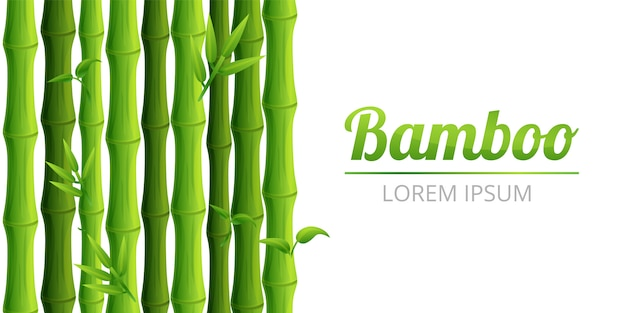Bannière concept forêt de bambous, style cartoon