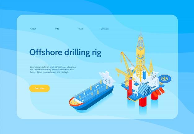 Bannière de concept de l'industrie pétrolière isométrique horizontale avec titre de plate-forme de forage en mer et bouton jaune voir plus