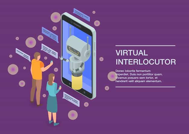 Bannière concept d'interlocuteur virtuel, style isométrique