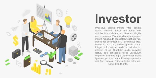 Bannière concept investisseur, style isométrique