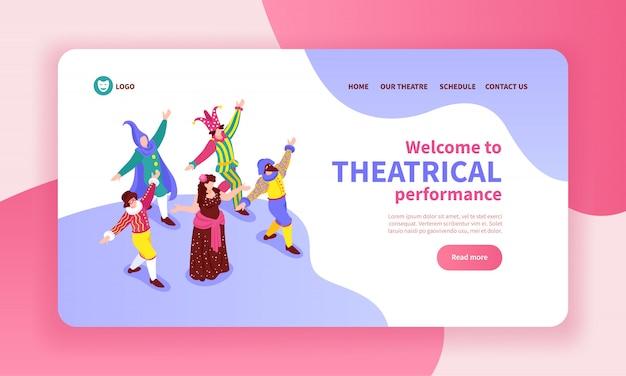 Bannière concept isométrique avec des acteurs de danse portant des costumes classiques 3d