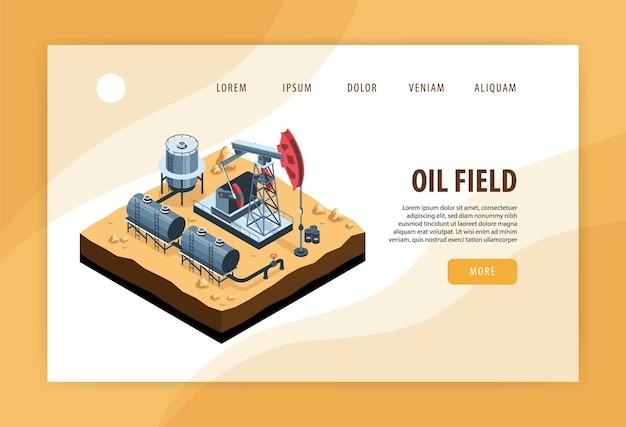 Bannière de concept isométrique de l'industrie pétrolière pour le site web
