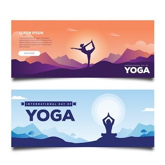 Bannière de concept de la journée internationale du yoga pour les médias sociaux