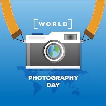 Bannière de concept de la journée mondiale de la photographie design plat avec carte du monde et illustration d'appareil photo vintage