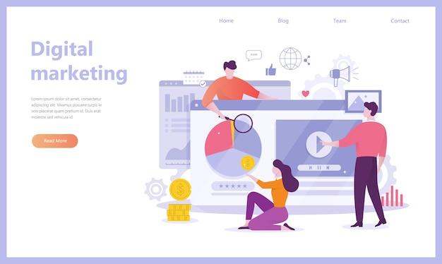 Bannière de concept de marketing numérique. réseau social, médias