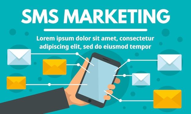 Bannière de concept marketing sms en ligne