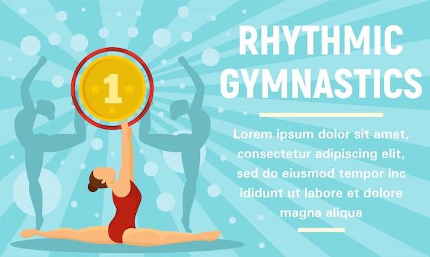 Bannière de concept de médaille d'or de gymnastique rythmique