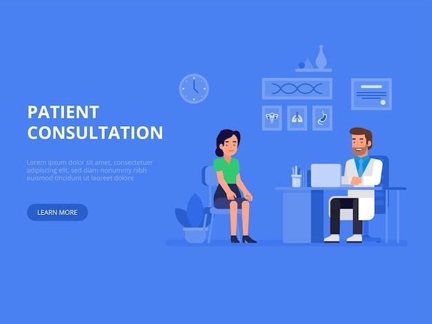 Bannière de concept médecin et patient avec des personnages. consultation des patients.