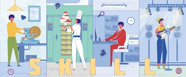 Bannière de concept de mot compétences professionnelles humaines