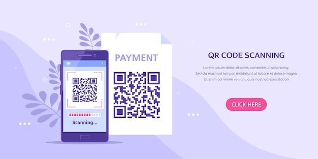 Bannière de concept de numérisation de code qr téléphone mobile avec code qr à l'écran style plat