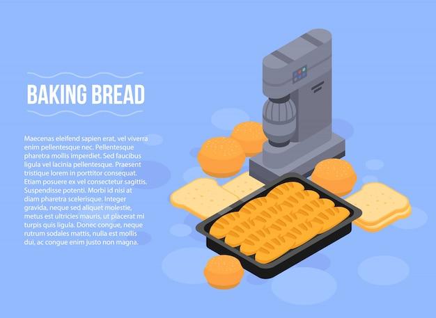 Bannière de concept de pain de cuisson, style isométrique