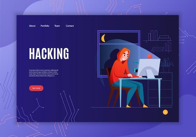 Bannière de concept de pirate horizontal avec titre de piratage voir plus de bouton et illustration de quatre liens