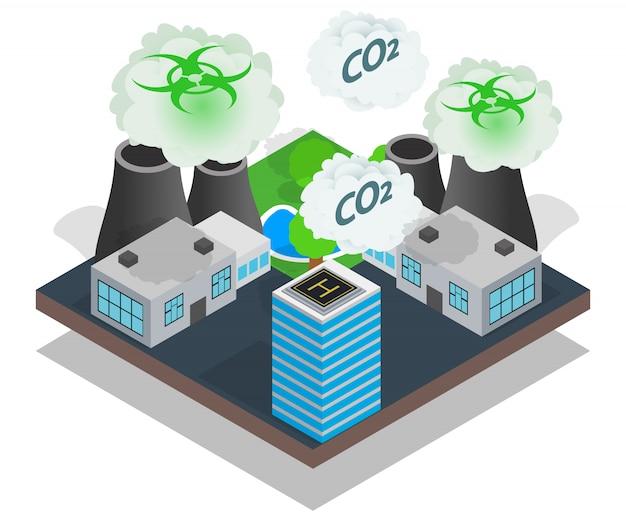 Bannière concept pollution, style isométrique