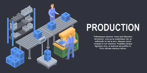 Bannière de concept de production ligne ligne, style isométrique