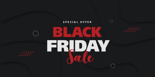Bannière de concept publicitaire de vente vendredi noir avec des éléments géométriques dans les couleurs rouges et gris.
