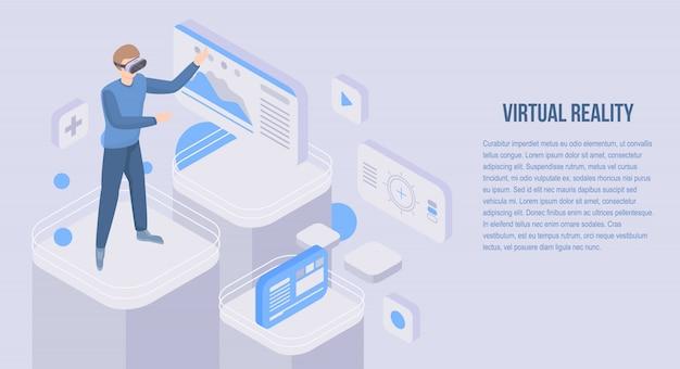 Bannière de concept de réalité virtuelle, style isométrique