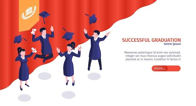 Bannière de concept de remise des diplômes réussie