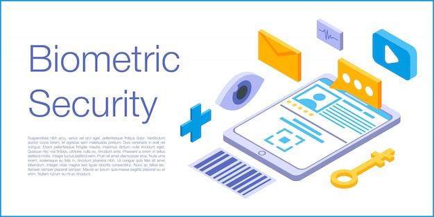Bannière de concept de sécurité biométrique