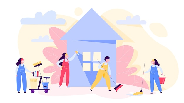Bannière de concept de service de nettoyage. les gens en uniforme
