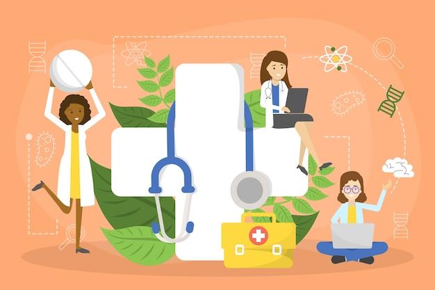 Bannière de concept de soins de santé. idée de médecin attentionné