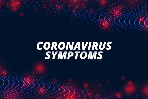 Bannière de concept de symptômes de coronavirus covid-19 pour ncov