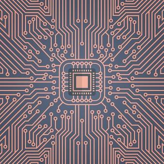 Bannière de concept de système de centre de données réseau moterboard sur puce informatique