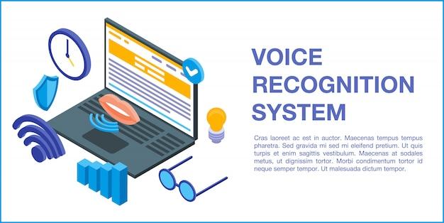Bannière de concept de système de reconnaissance vocale