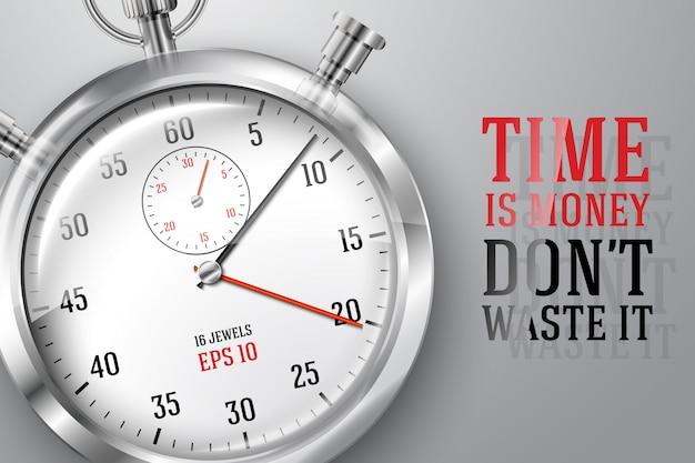 Bannière de concept de temps d'exécution avec horloge chronomètre lumineux argenté et place pour votre texte.