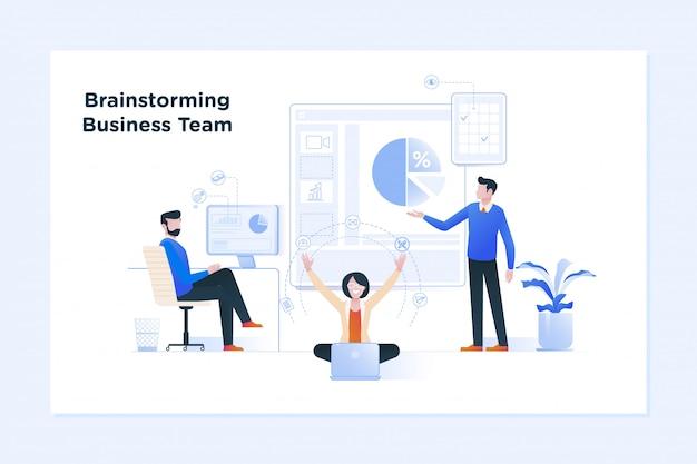 Bannière de concept de travail d'équipe. réunion d'affaires et brainstorming