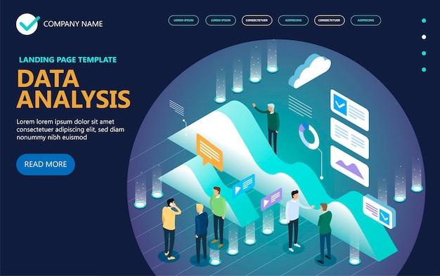 Bannière de concept de vecteur isométrique d'analyse de données, hommes d'affaires, bureau, graphiques, statistiques, icônes. design plat isométrique 3d. illustration vectorielle