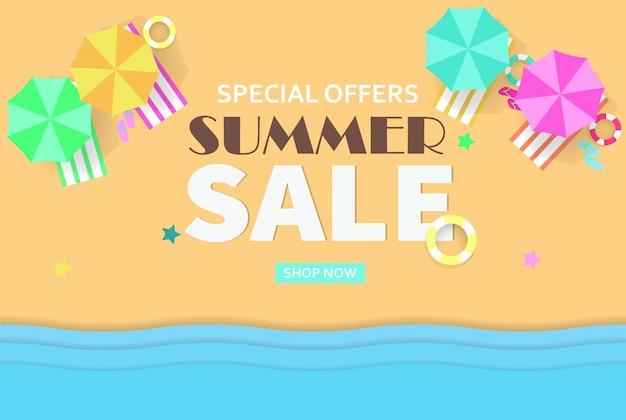 Bannière de concept de vente d'été