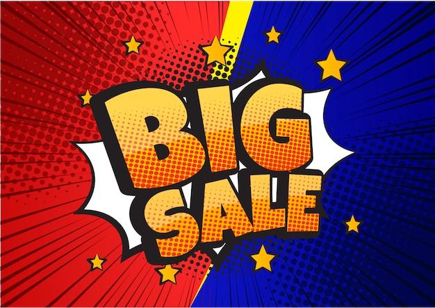 Bannière de conception de bulle de discours comique de grande vente