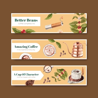Bannière avec conception de concept de journée internationale du café pour la publicité et le marketing aquarelle