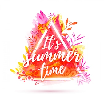 Bannière de conception c'est l'heure d'été. cadre triangle et herbe. décoration de fleurs roses sur fond de texture aquarelle.