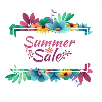 Bannière de conception avec logo de vente d'été. carte de réduction pour la saison estivale avec cadre blanc et herbe. offre promotionnelle avec décoration de plantes, feuilles et fleurs d'été.