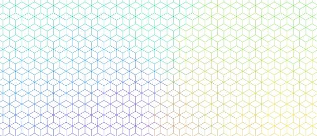 Bannière de conception de motif large ligne hexagonale colorée