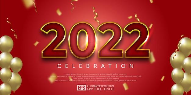 Bannière de conception or rouge modifiable bonne année, fête du nouvel an, plusieurs ballons,