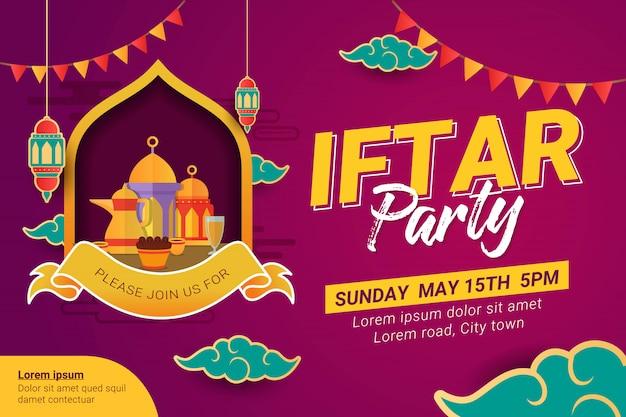 Bannière de conception de parti ramadan iftar