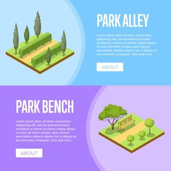 Bannière de conception de paysage de parc